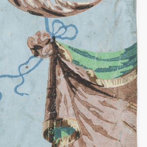 """Composed of two scenes. First: Mercury, holding a winged staff entwined with the two serpents (caduceus) and wearing a broad-brimmed winged hat (petasus), winged sandals, and a dot pattern cape, hands a lyre to another figure, possibly Apollo, wearing a laurel wreath.  Figures are on a landscape background with palm trees.  Second: draped fabric with tassel and fringe including elements of a globe, telescope, possibly a compass, and a ring of stars.  Fabric hangs from an anthemion or palmette.  Printed in shades of blue, shades of green, and shades of brown on a blue ground. """"a"""" is composed of three parts.  H# 353"""