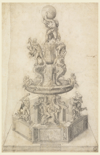An octagonal basin upon a square platform from which a shaft rises at center supporting a circular basin and two tiers adorned with statues depicting episodes of the Hercules legend. At the top of the shaft, Hercules supports the world.  On top pier, Hercules is shown with the Cretan Bull (at right side); Hercules with Hydra and the Nemean Lion (at left side).  Below them, on the rim of the circular basin (at mid-section of fountain), at each side, are two pairs of putti on Capricorns; the infant Hercules with a snake is shown at the center of this circular basin rim.  On the rim of the bottom octagonal basin are three statue groups: Hercules killing Nessus (center); Hercules and Antaeus (at right); and Hercules about to club another  unidentified male (left).  The sides of the octagonal basin are adorned with relief panels, probably depicting additional scenes from the life of Hercules.