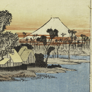 Ferryboat crosses river and is awaited by group of travelers and pack-horse. Left, man poling timber raft. Center, village with thatched roofs amongst trees. Right, Fuji is seen with bars of red clouds at its base.