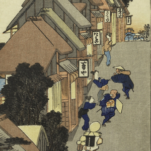 Village street rises steeply to right with group of travelers, two of whom are accosted by women, trying to drag them into teahouses. Left, in the bay, boat at anchor, skiff with two men; also five small boats and five boats sailing; cloud in sky.