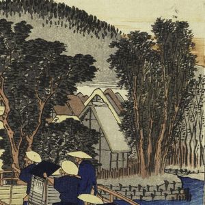 Right, travelers crossing wooden bridge at the end of which are teahouses and village. Upper right: distant mountains.