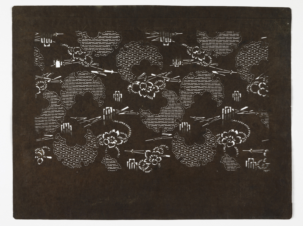 Flowers and stenciled floral motifs.