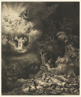 At upper left a winged angel stands on a cloud in a glory of light in which many winged cherubim fly about. At lower right, the light is reflected, revealing a group of frightened shepherds and their flock.  At left, a river and distant landscape elements are visible in shadows.  At right, trees are dramatically illuminated.