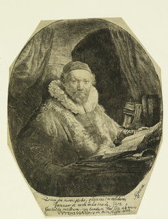 Set in an oval enframement (cut octagonally within platemark), the preacher of the sect of Arminian Remonstrants, is seated in his study, facing one-quarter to the right. Below, a Latin inscription.