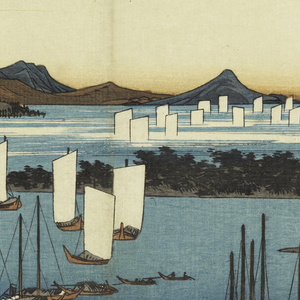 Lower half, roofs of houses beyond which is bay with two groups of boats, some with sails. Upper left, low stretches of tree-covered ground jutting out into the sea and mountains.