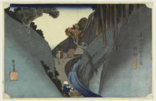 A torrent of water rushes down the pass between overhanging hills, towards right with trunks of pine trees.  On the path bordering the stream are peasants bearing bundles of wood.