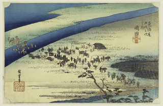 Procession of travelers crossing the first arm of ford of river from right to left. Chief retainers of daimyo are waiting their turn on shore of near bank.