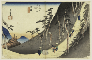 Mountain path crosses the lower half of page and ascends steeply between pines to upper right. On it are travelers, some gazing at large boulder. Left, in the gap are peaks of mountains.