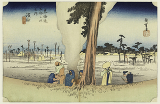 Woodblock Print, Hamamatsu, Wintertime, in The Fifty-Three Stations of the Tokaido Road (Tokaido Gojusan Tsugi-no Uchi), ca. 1834
