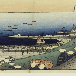 The sea with dotted with sails seen in the dip between two hillsides, each with pine trees, just below which appear the heads of daimyo procession. Lower half, the beach, with fishing nets drying. Boats offshore.