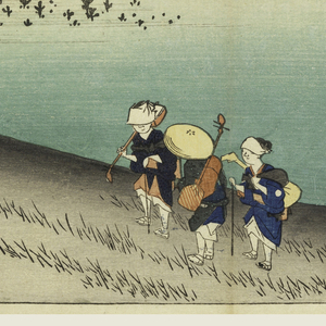 Left, teahouse with sign at which one traveler has just arrived. Center, three musicians pass towards teahouse. Beyond is slope with pine trees and flat fields dotted with pines.