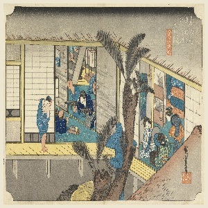 Interior of inn. Left, guest reclines and maid brings in his meal on two stands. Other servants are waiting. Right, two geisha arrange their toilet. Center of courtyard, large sago-palm and stone lantern.