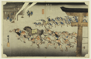 Two teams of men, each with horse, hauling festival cars (not visible), from right to left. Right, part of Torii is seen. Left, building outside of which are two fires, and people watching activities.