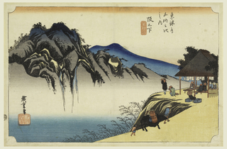 A teahouse on the edge of a cliff with guests gazing across the valley at a group of peaks and waterfalls.