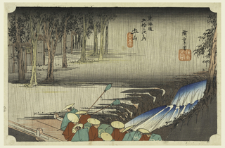 Daimyo procession crossing a bridge over torrent in heavy rain towards village. Far left, village screened by row of trees.