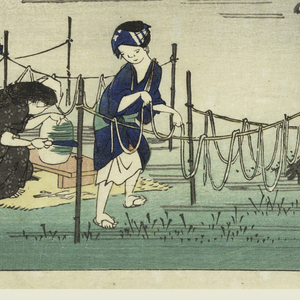 Lower left, two women are preparing sliced gourd (kampyo). A third has baby on her back. Center, tree and beyond is village amid bamboos with fences on which sliced gourd is hanging. Upper half, mountains.