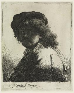 Print, Rembrandt in Cap and Scarf