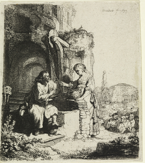 Christ, seated left, at a well among the ruins. Woman stands, holding the well rope in her right hand. A group of men are coming up the hill to the right.
