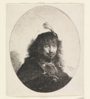 Oval composition. The bust length portrait of a man, turned toward the right. He wears a plumed hat.