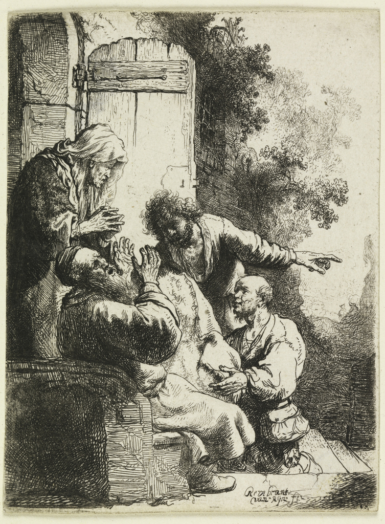 Jacob is seated, left, before the open door of his house. He holds up his hands in grief at seeing the cloak of his son, brought to him by two other sons. One of them points towards the distance with his left hand.