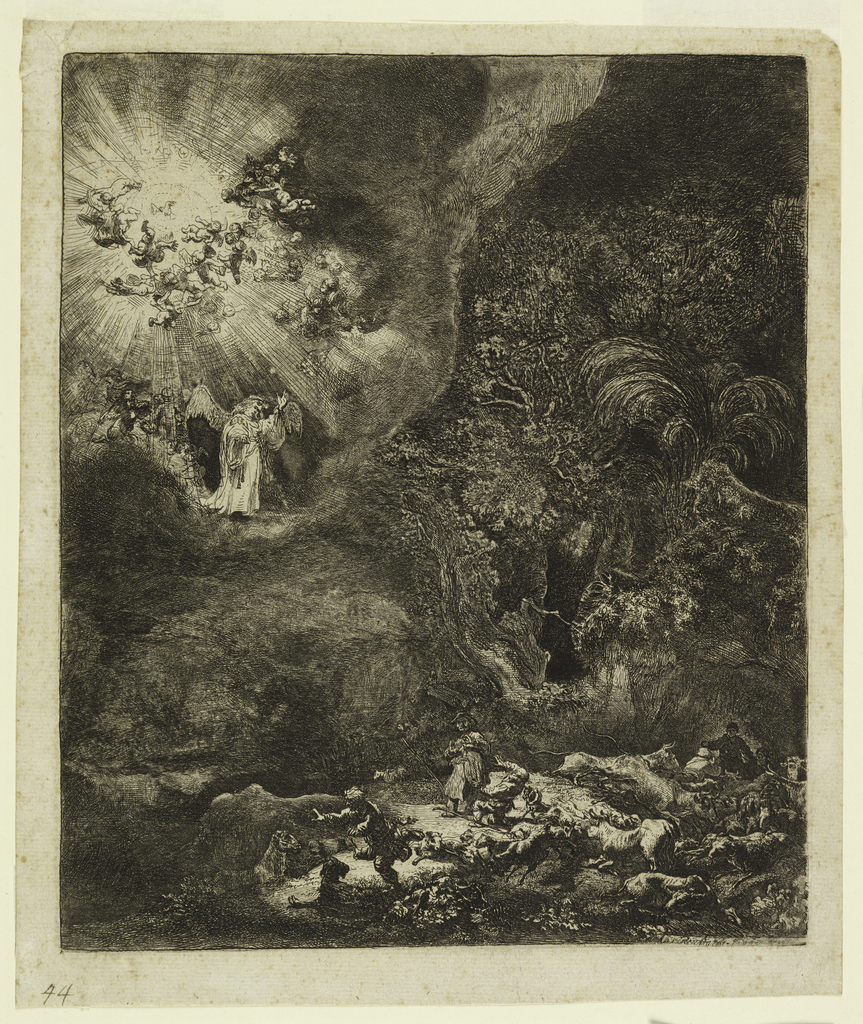 Print, Angel Appearing to the Shepherds