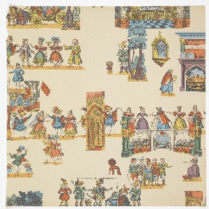 Children's paper which includes characters and scenes from Cinderella. Includes Cinderella trying on the slipper, State carriage with Cinderella and the Fairy Queen in disguise, among others. Printed in red, blue, green and yellow on off-white ground.