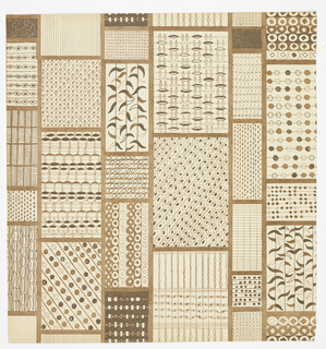A grid pattern forming vertical rows, alternating between narrow and wide. Composed of small rectangular boxes, each containing different textural elements. Printed in brown using blue print process.