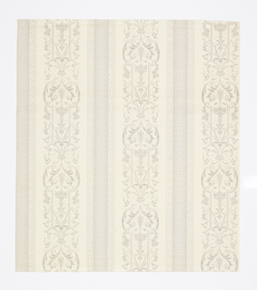 Neo-Renaissance pattern with vertical motif of strapwork and leaves separated in columns by large ribbons with stretched checkerboard pattern and bordered by thin ribbons with simple wave vine patterns; dotted lines separate each column; some attempt of shading on leaves; color scheme of greys, light browns on cream ground for strapwork pattern, off-white on pale tan ground on the ribbon patterns.