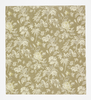Aesthetic all-over pattern of sprigs of roses and other flowers; three motifs arranged in a diamond-shaped repeat in off-set columns; greyscale coloration with naturalistic block shading; ground is light brown.