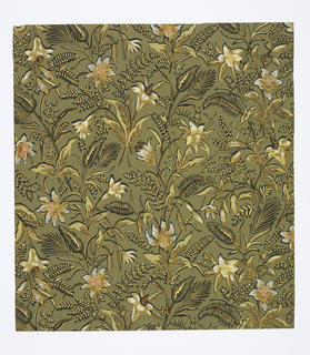 Aesthetic all-over pattern of scattered lily-like flowers and ears of grain; total repeat not seen in sample; naturalistic block shading; combination of black and golden detailing and outlining and false cast shadows gives pseudo-embossed effect; color scheme of white, greens, red on green ground.