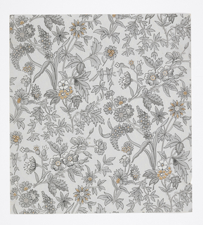 Aesthetic dense all-over pattern of scattered sprigs of flowers and leaves; diamond-shaped repeat in off-set columns; multiple varieties of flowers; black outlining and some rough block shading; grayscale with some details picked out in orange on light gray ground.