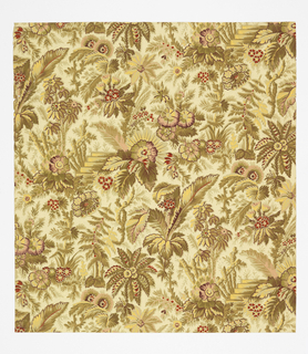 Aesthetic style design. Dense all-over pattern reminiscent of a Rococo brocade with a chinoiserie theme; foliage with stylized fir and palm trees from which partially emerges small sets of garden-path steps with rough-hewn wooden banister; naturalistic shading; color scheme is strongly yellowish with some red and pink highlighting on the flowers; light cream ground
