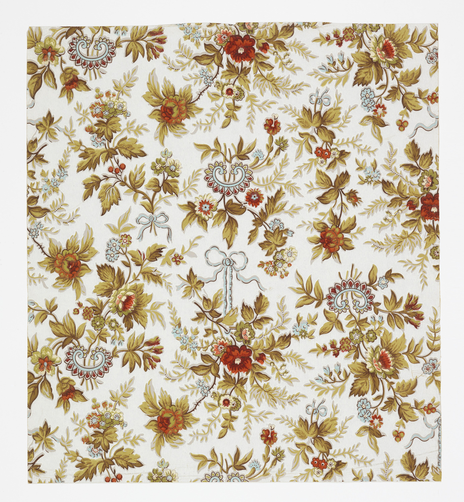 Aesthetic style design. Neo-Rococo pattern with five motifs of bunches of flowers arranged jigsaw-like; bunches alternatively tied at their base by ribbons with bow knots, hanging from a looped ribbon, or sprouting from an odd, chinoiserie horseshoe-shaped jewelry-like form; flow of growth is both upward and downward; naturalistic coloring and shading with light blue, red, and cream predominantly used on the flowers, light blue on the ribbons, and light blue, red, and tan on the jewelry forms; white ground.