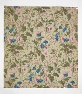 Neo-Rococo all-over pattern of sprouting flowers with lengthy stems; single-motif roughly diamond-shaped repeat in off-set columns; pink and blue flowers with green and dark red foliage; pseudo-naturalistic watercolor-like shading; tan ground.