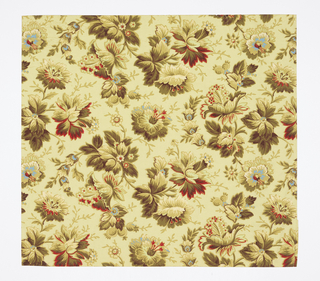 Aesthetic-style all-over pattern of large fanciful flowers with foliage; two motifs in alternating columns; attempts at naturalistic shading; color scheme strongly yellow with darker yellow-green and bright red and blue highlights; pale yellow ground.