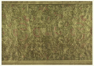 Allover embossed pattern of scrolls and flowers in pink and gold-brown.
