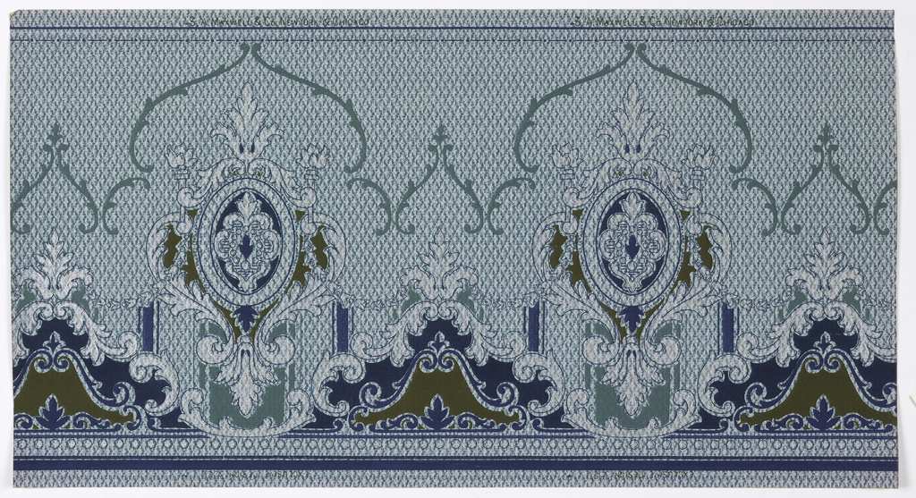 """Large foliate medallions with small beaded wreaths, connected by floral swag and foliate scrolls. Beading on the bottom. Bead and reel on top. Background is a grid of teal and blue curved dashes and lines. Printed in teals, blues, brown gold, and white mica. Printed in top selvedge: """"S. A. Maxwell & Co. New York & Chicago""""  Printed in bottom selvedge: """" Exclusive Design 3520"""""""