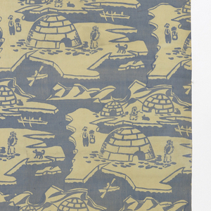 Textile with horizontal design repeat. Design of three (different sized) igloos, four human figures (two in fur clothing), camp fire, dog, and body of water with ice floats, canoe, and other boat.