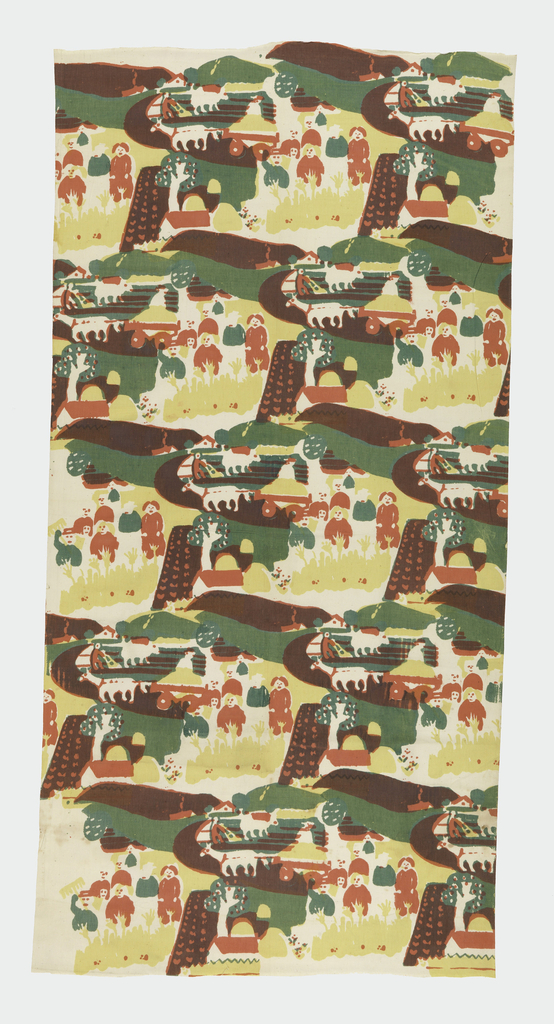 Textile with printed repeat of farm scene. Design features group of human figures, fields, cow or ox leading plow and human, donkey or horse drawing a cart, and tree with fruit. Printed in pinkish-red, green, and yellow (green on red to create brown).