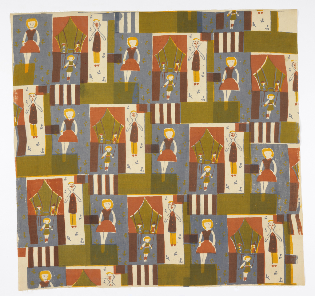 Textile printed with repeat design of individual ballerina on blue ground with green floral pattern, human figure on off-white ground with blue floral pattern, and stage scene featuring pink curtains and three performers. Designs are separated by green geometric shapes and striped rectangles.