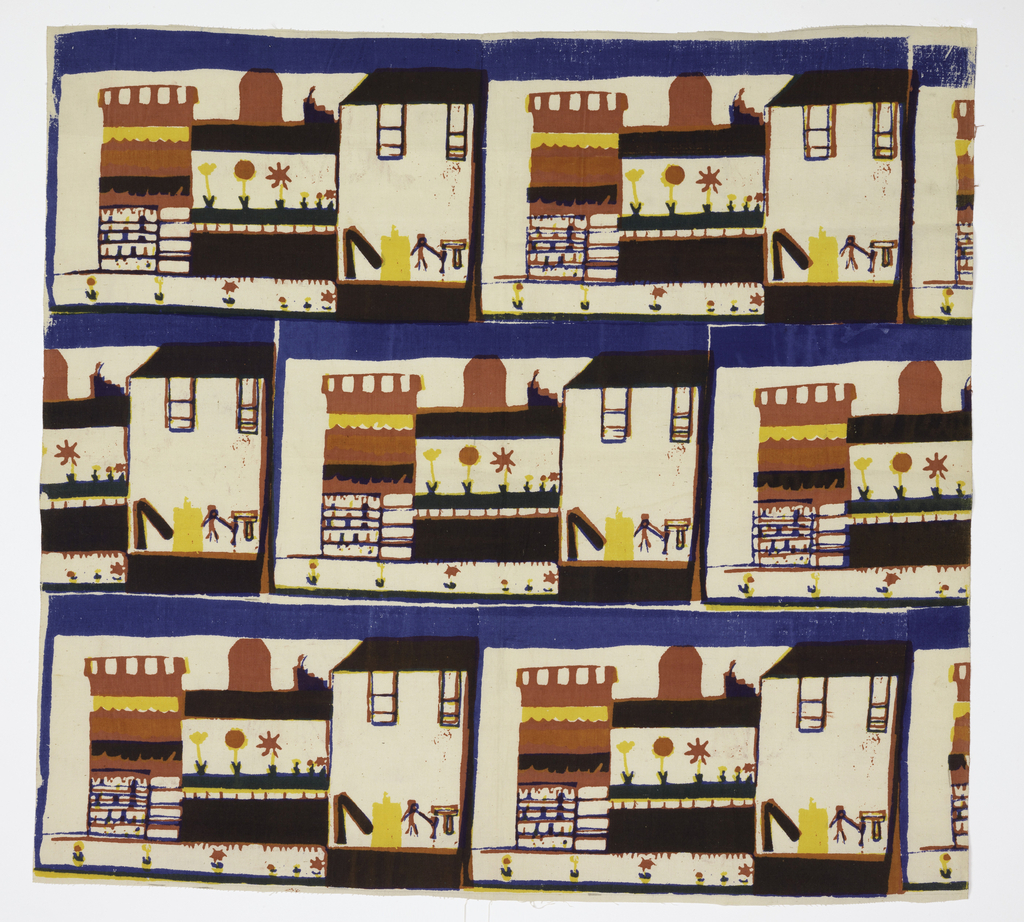 Textile screen printed in blue, black, red, pink, green, and yellow. Three horizontal rows showing repeat design of a building, garden (or flower shop), and playground. Each row is separated by blue horizontal lines.