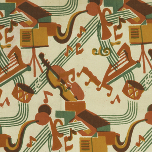 Brick repeat of musical instruments, notes, music stand and music staff in green, pink, red, orange, and violet. Silk screened in green, gold and pinkish red. Gold printed over red for orange and red over green for violet.