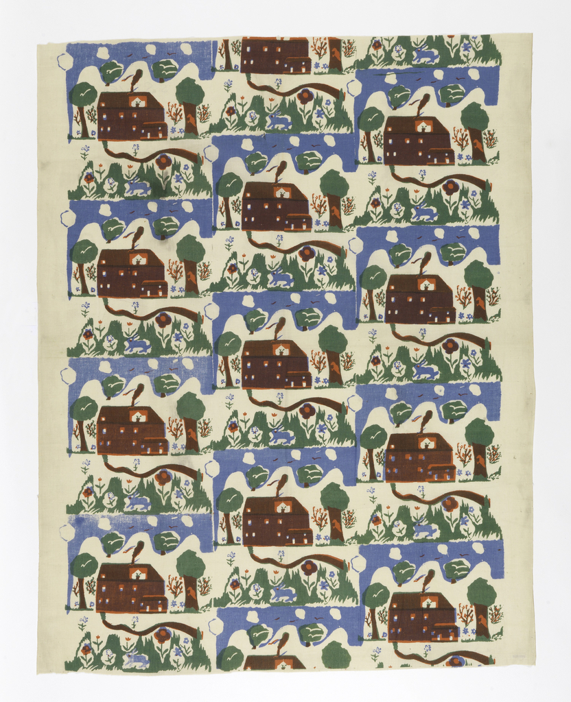 Textile with printed repeat. Design of a rabbit among grass and flowers, path leading to a house, four trees, and sky with clouds. Printed in red, green, and blue (red and green to make brown, red and blue to make purple).