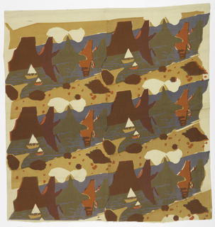 Textile with three rows of a river design. Mountains and clouds bordering a river with two sailboats of different sizes. Printed in yellow-ochre, pink, and blue (pink, blue, and yellow for brown, red over blue for purple, and yellow over blue for green).