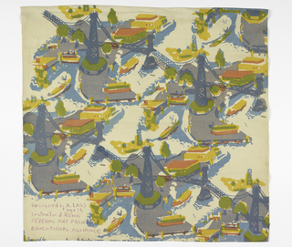 Textile printed with diagonal repeat (horizontal and vertical half drop) design of bridge over water showing boats and buildings. Printed in grey, pink, yellow, green, and two shades of blue.