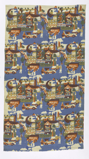Textile printed with four horizontal rows of city neighborhood design. Features Brick repeat of a street scene in Chinatown with laundromat, moving truck, people pushing carts in the street, tree and street lamp. Printed in blue, gold, and pink (gold over blue for green and pink over blue for purple).