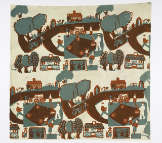 Textile with two rows of a road with houses, baseball field, children jumping rope, and trees. Printed in red, green and brown on white ground.
