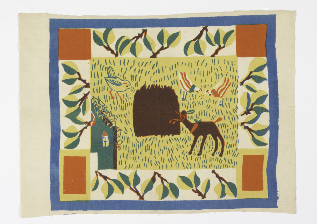 Rectangular textile printed with yellow center field showing deer, a bird, and two chickens among the grass next to a house. Inner border of branches with two-toned leaves, red squares at the top corners, and red rectangles bordered in yellow in the bottom corners. All within a light blue outer border. Printed in blue, red, yellow, (yellow over blue for green, yellow over red for orange, and all three colors for brown/deep purple.