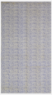 Length of printed cotton with a fine, linear, geometric design, reminiscent of Paul Klee's,  in light blue on white ground.