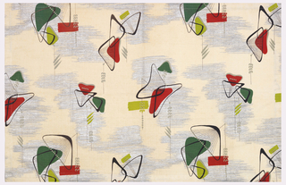 Design of boomerang-like shapes in two greens, grey, red, black, and metallic silver.